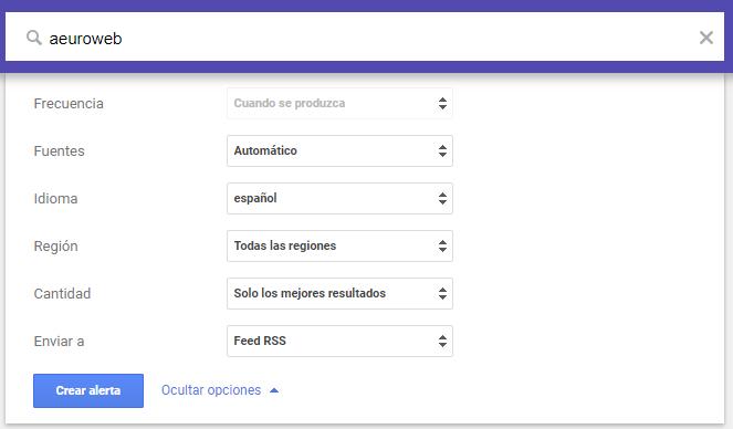 crear alerta en Google