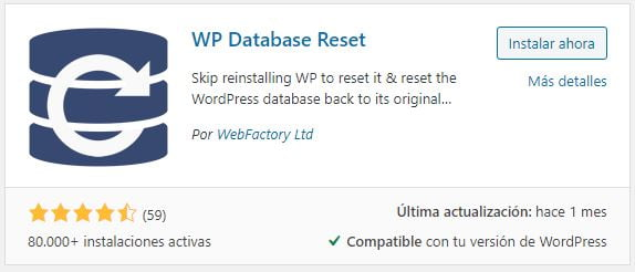 Wp database resetET
