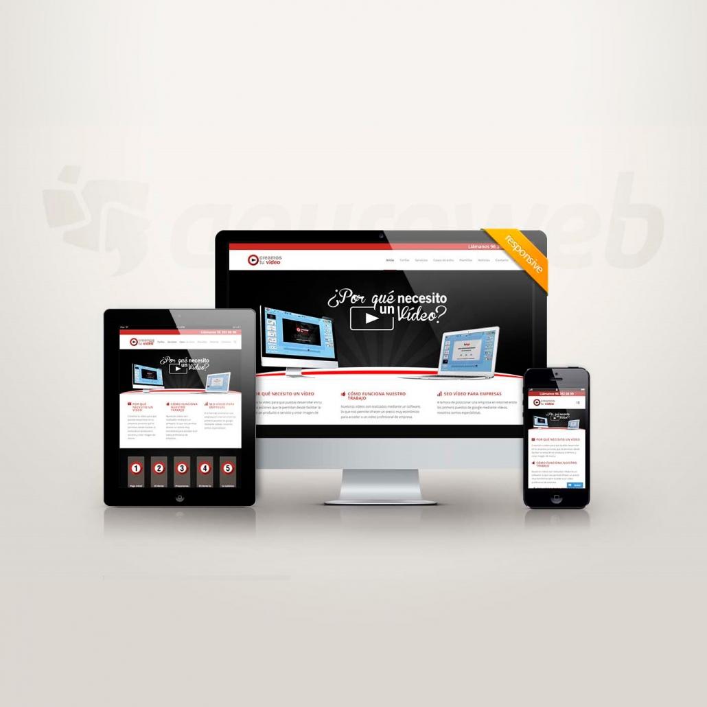 Imagen de la web Creamos tu vídeo vista desde varios dispositivos, creada con diseño web profesional en Valencia