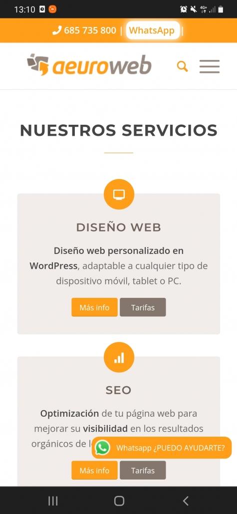 Home de Aeuroweb vista en un móvil gracias al diseño responsive de la web