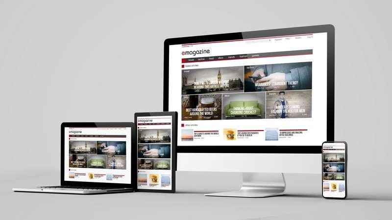 Ejemplo de diseño responsive en diferentes dispositivos