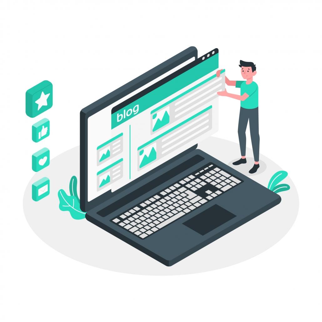 Ilustración de diseño web para blog