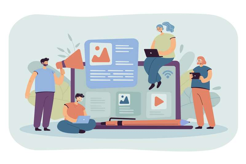Ilustración de genete eligiendo contenido para el blog en wordpress o blogger