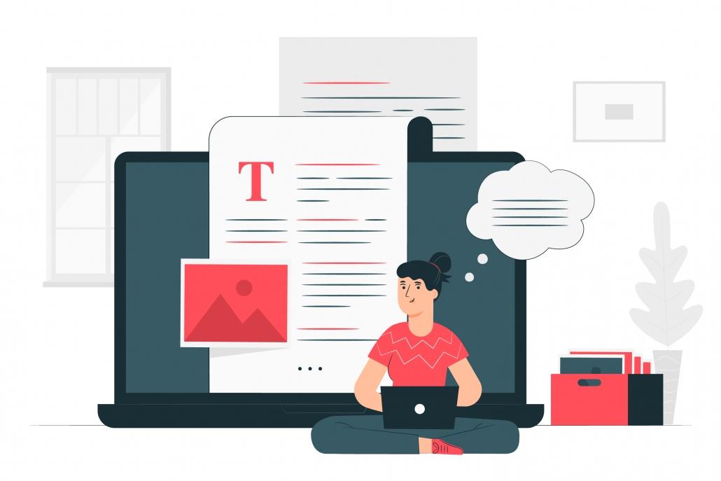 Ilustración de una mujer escribiendo en su blog de wordpress o blogger