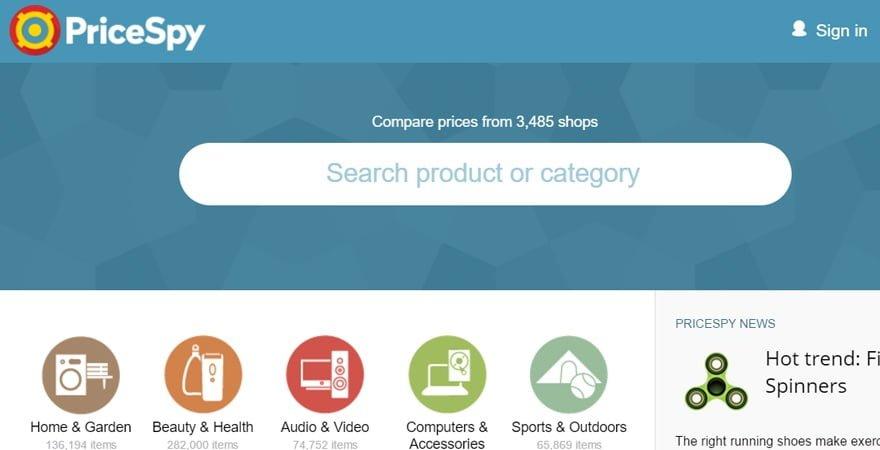 Interfaz de PriceSpy