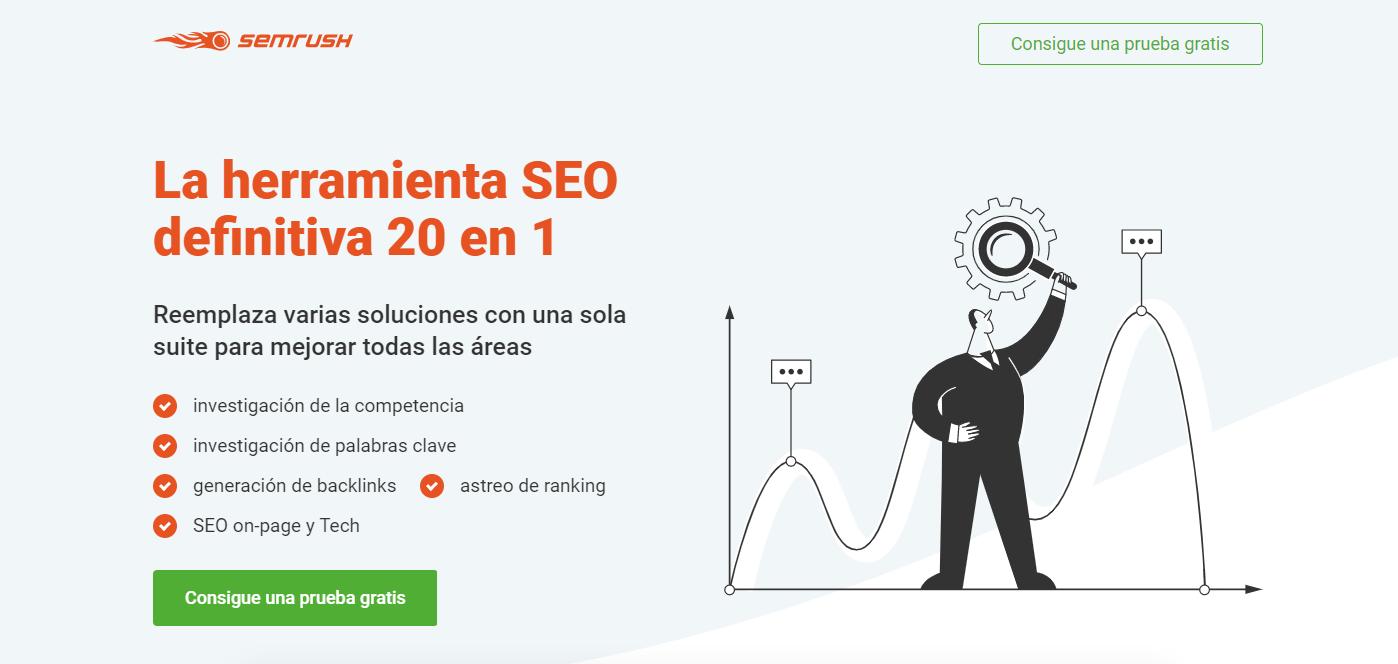 Interfaz de la herramienta SemRush para analizar visitas