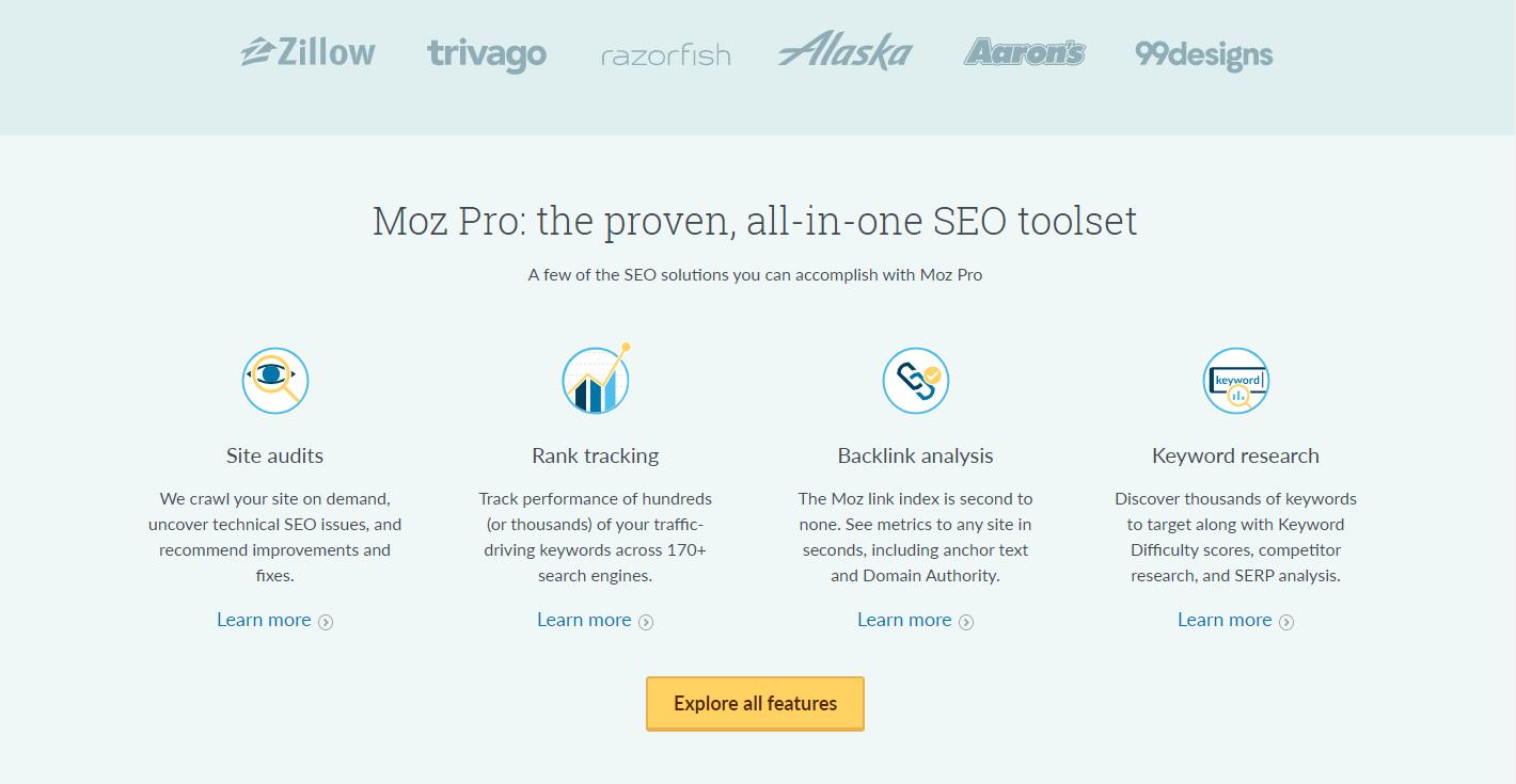 interfaz de Moz, herramienta para analizar visitas
