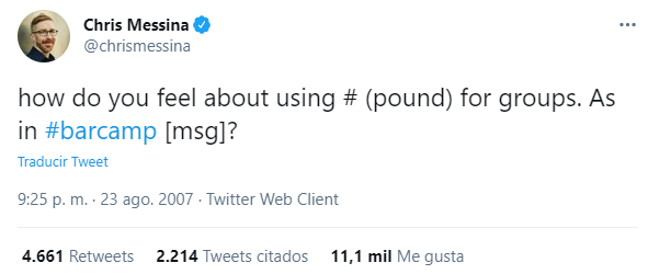 captura invención accidental de los hashtag por Chris Messina