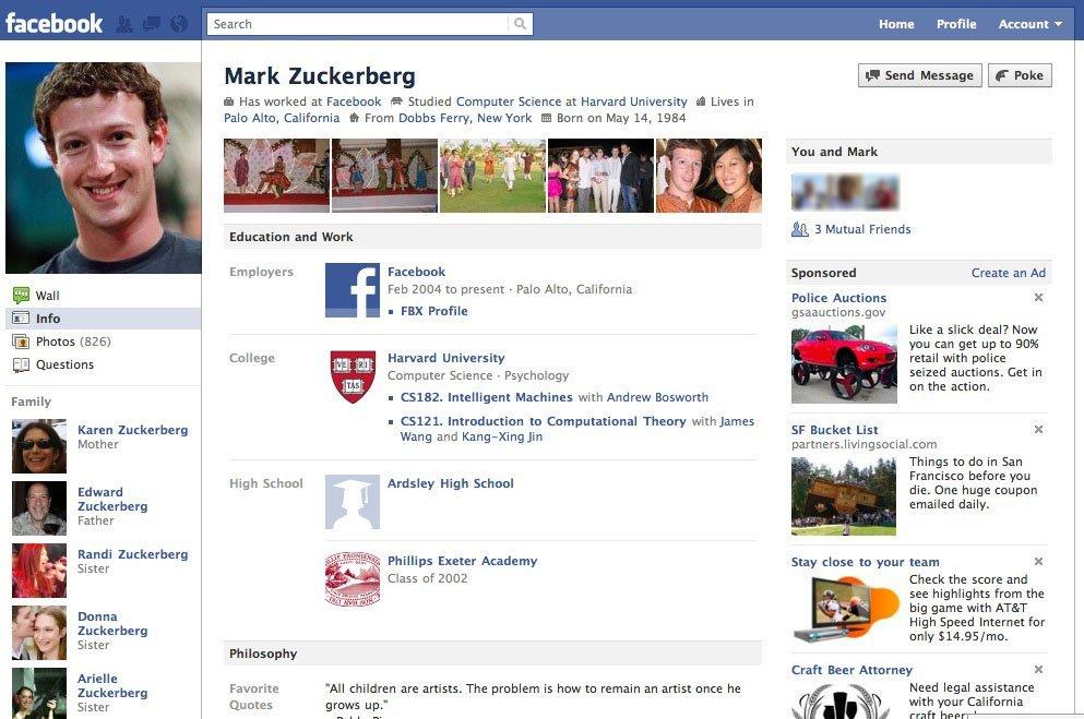 Pantallazo de la interfaz de Facebook en 2007