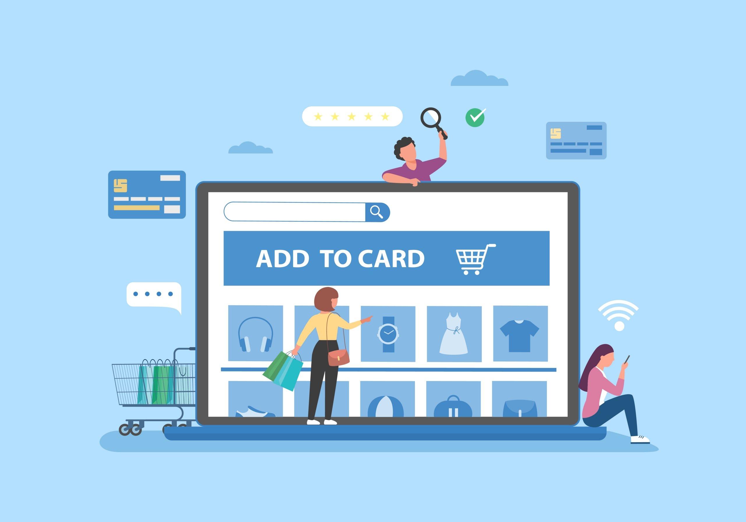 ilustración tienda online sobre fondo azul