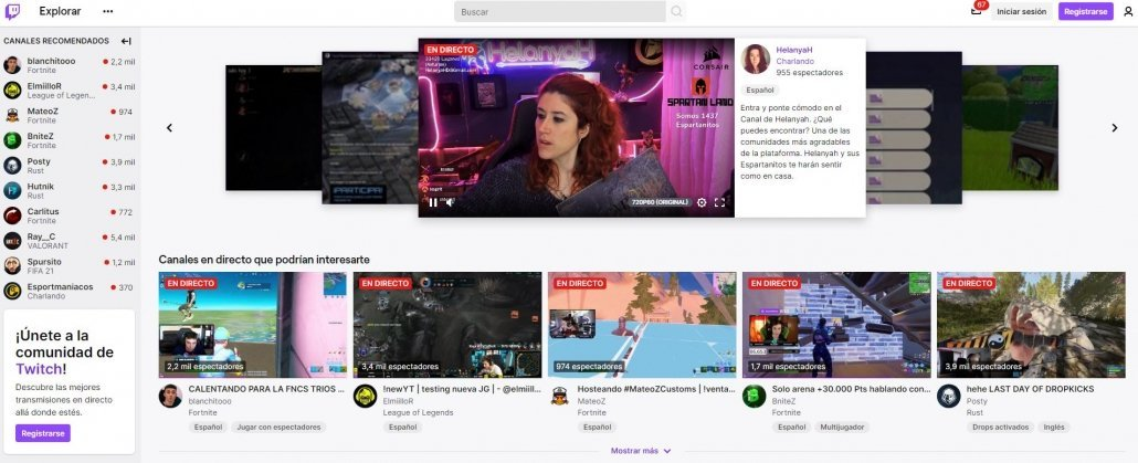Pantallazo de la interfaz de Twitch.