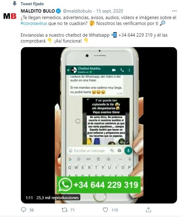 Tweet de Maldito Bulo, una de las redes sociales que desmienten bulos, en el que desmienten una información falsa sobre coronavirus.