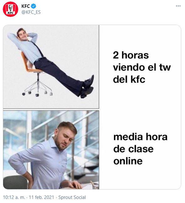 Pantallazo de las redes sociales de KFC.