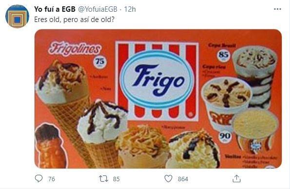 Una cuenta de redes sociales comparte el cartel de una heladería de hace años.