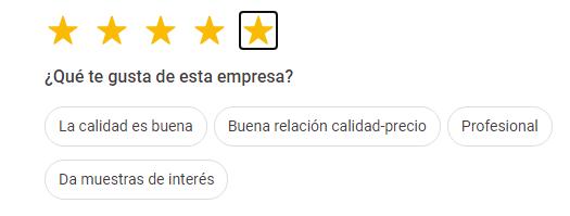 5 estrellas, la máxima puntuación en reseñas de Google