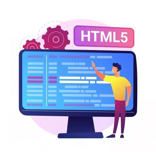 Ilustración en la que un muñeco explica HTML y mantenimiento web con un ordenador