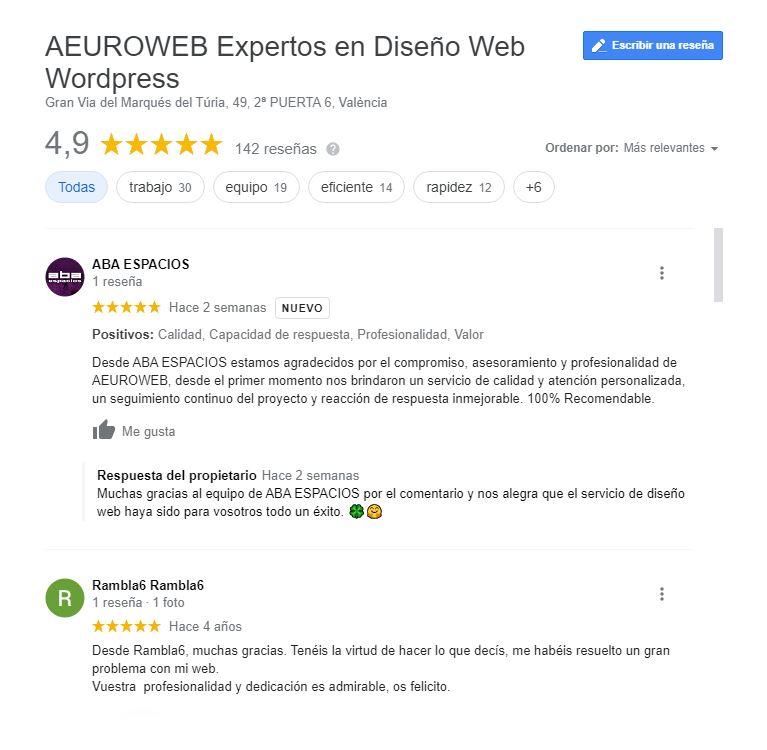 Reseñas de Aeuroweb después de crear enlace directo reseñas de Google