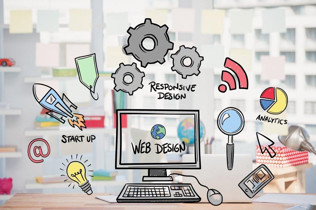 Ilustración en la que se aprecia un ordenador con iconos de SEO, keywords y diseño web