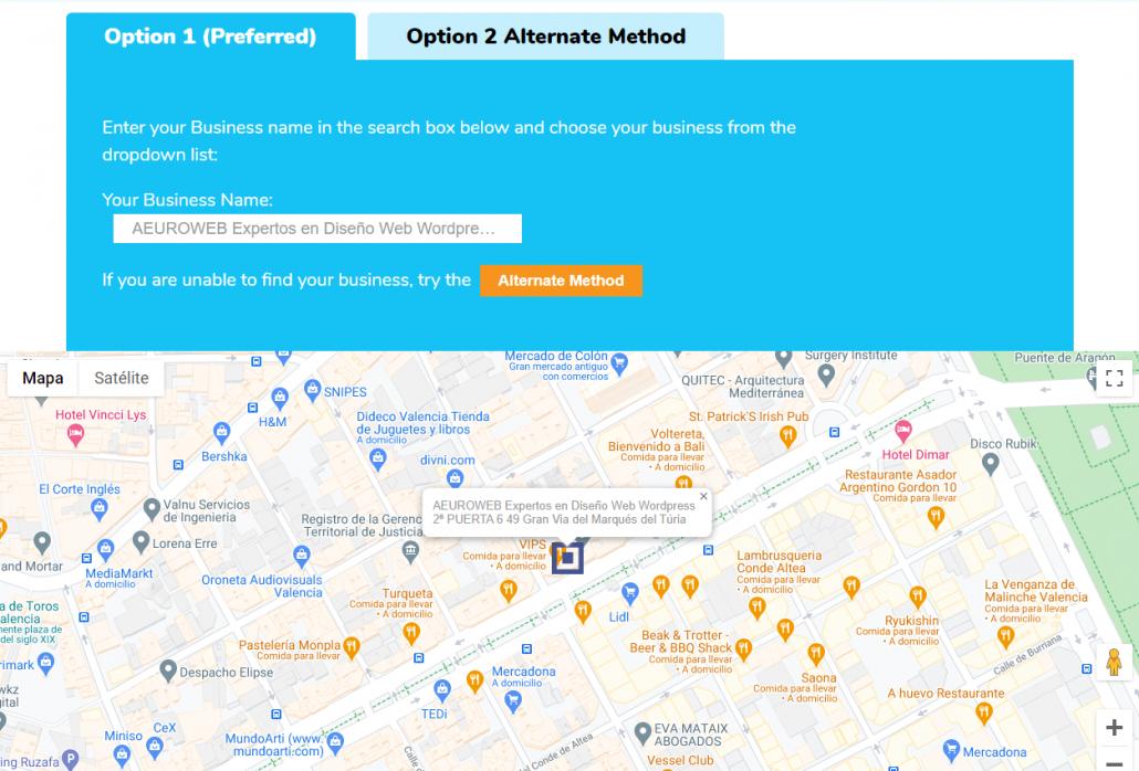 Interfaz Supple para crear enlace directo a reseñas de Google