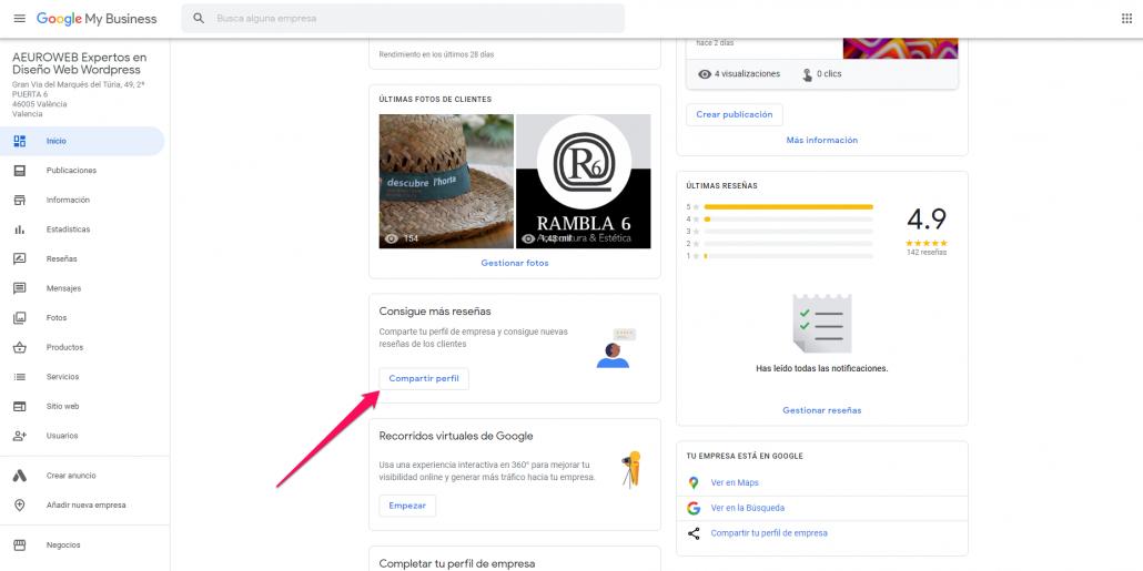 Pantallazo de cómo compartir enlace para reseñas de Google desde el administrador de my Business