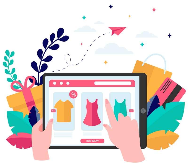 ilustración persona comprando en tienda online de ropa