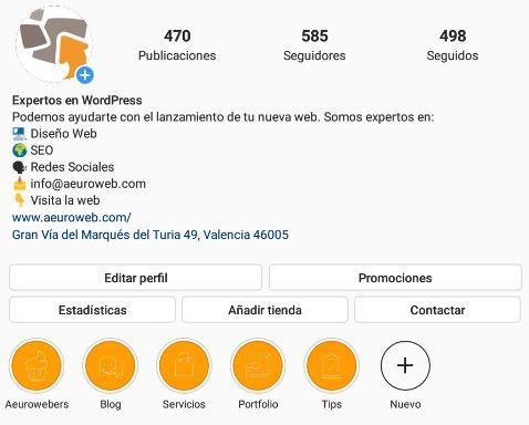 Captura del Instagram de Aeuroweb donde se ven la stories destacadas. Ahora se pueden hacer en Google con diseño web en WordPress