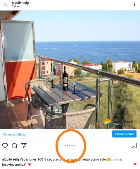 Pantallazo de instagram en el que se ve el carrusel de imágenes