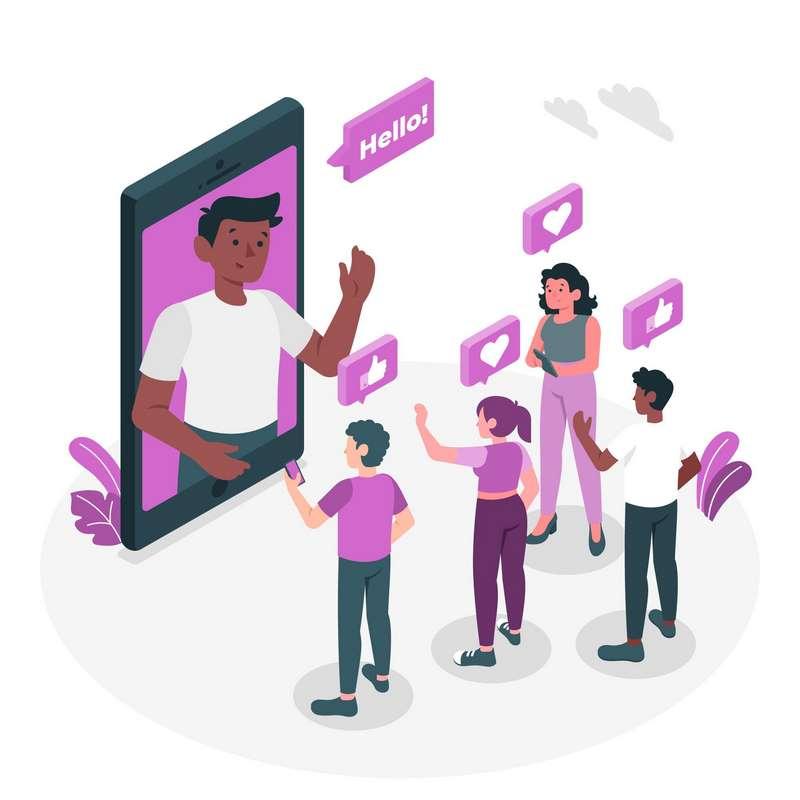 Ilustración de engagement de gestión de redes sociales